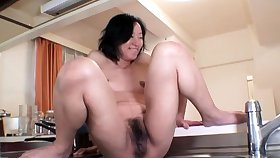 Hardcore rain hard by an oiled and tied up Japanese chick