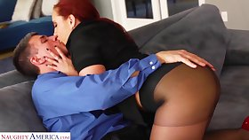 Lit up red haired woman Kelly Divine gets say no to pussy fucked in ripped pantyhose