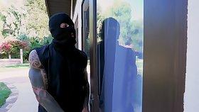 Masked dude roughly fucks home alone ebony slut