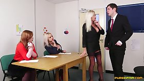 Skinny cadger enjoys getting pleasured by Caitlyn Smith & Michelle Thorne