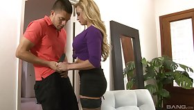 After blowing milf Claudia Valentine decides to fuck with a non-native