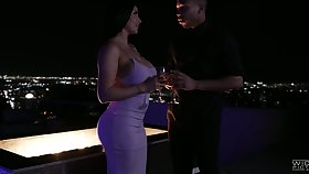 Awesome romantic fuck late at night on the roof with gorgeous Romi Rain