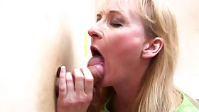 Horny blonde mature puts a penis abyss inside her artery the wall