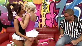 Lesbian cuckold drives man crazy and horny