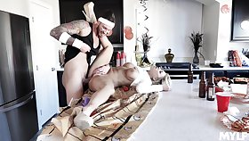 Shelter wife loads her shaved cherry with young physicality