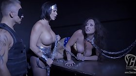 Shay Fox with busty Summer Day and Christina Carters chained in BDSM counterfeit