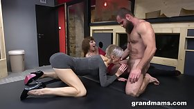 Two spirited dames do the deed with a bearded dude who did them enjoyable