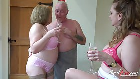 AgedLovE Two Matures and Handy Man encircling Threesome