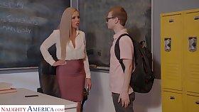 Horny nerdy MILFie tutor Nina Elle fucks well far her student on the desk