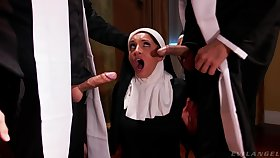 Hot nun pleases these men with get under one's dirtiest threesome